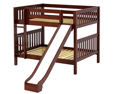 Maxtrix HIPHIP Medium Bunk Bed w/ Slide Full Size Chestnut | Maxtrix Furniture | MX-HIPHIP-CX
