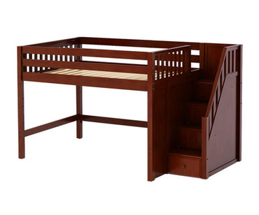 Maxtrix HIT Mid Loft Bed with Stairs Full Size Chestnut | Maxtrix Furniture | MX-HIT-CX