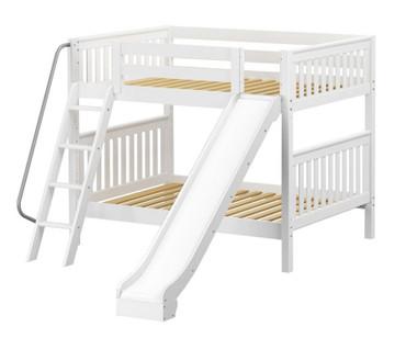 Maxtrix HOORAY Medium Bunk Bed w/ Slide Full Size White | Maxtrix Furniture | MX-HOORAY-WX