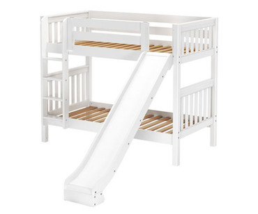 Maxtrix JOLLY Medium Bunk Bed w/ Slide Twin Size White | Maxtrix Furniture | MX-JOLLY-WX
