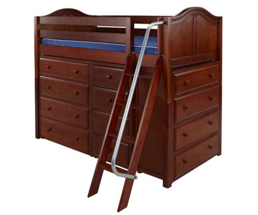 Maxtrix KATCHING Mid Loft Bed w/ Dressers Twin Size Chestnut | Maxtrix Furniture | MX-KATCHING-CX