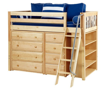 Maxtrix KATCHING Mid Loft Bed w/ Dressers & Bookcase Twin Size Natural | Maxtrix Furniture | MX-KATCHING2-NX