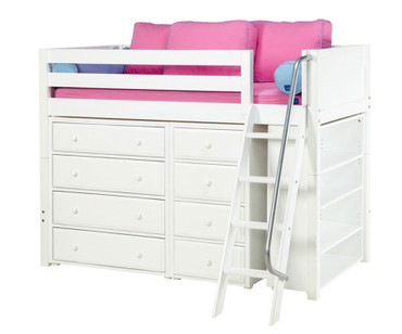 Maxtrix KATCHING Mid Loft Bed w/ Dressers & Bookcase Twin Size White | Maxtrix Furniture | MX-KATCHING2-WX
