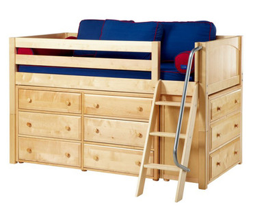 Maxtrix KICKS Low Loft Bed w/ Dressers Twin Size Natural | Maxtrix Furniture | MX-KICKS-NX