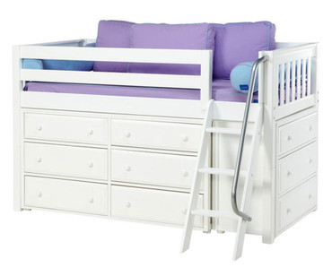 Maxtrix KICKS Low Loft Bed w/ Dressers Twin Size White | Maxtrix Furniture | MX-KICKS-WX