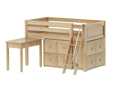 Maxtrix KICKS Storage Low Loft Bed w/ Desk Twin Size Natural | Maxtrix Furniture | MX-KICKS17-NX