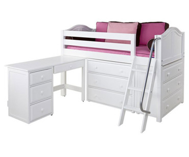 Maxtrix KICKS Low Loft Bed w/ Dressers & Desk Twin Size White | Maxtrix Furniture | MX-KICKS1L-WX