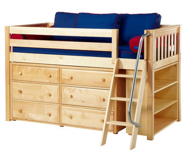 Maxtrix KICKS Low Loft Bed w/ Dresser & Bookcase Twin Size Natural | Maxtrix Furniture | MX-KICKS2-NX
