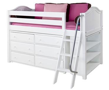 Maxtrix KICKS Low Loft Bed w/ Dresser & Bookcase Twin Size White | Maxtrix Furniture | MX-KICKS2-WX