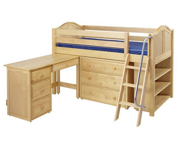Maxtrix KICKS Low Loft Bed w/ Storage & Desk Twin Size Natural | Maxtrix Furniture | MX-KICKS3L-NX