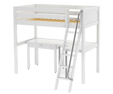 Maxtrix KNOCKOUT High Loft Bed with Curved Desk Twin Size White | Maxtrix Furniture | MX-KNOCKOUT4-WX