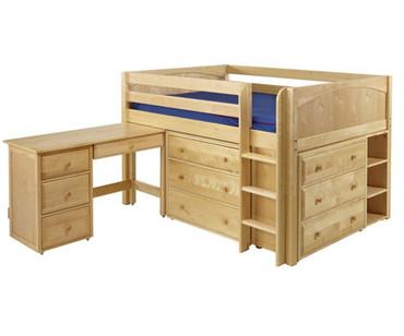 Maxtrix LARGE Low Loft Bed w/ Dressers & Desk Full Size Natural | Maxtrix Furniture | MX-LARGE4L-NX