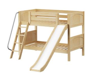 Maxtrix LAUGH Low Bunk Bed w/ Slide Twin Size Natural | Maxtrix Furniture | MX-LAUGH-NX