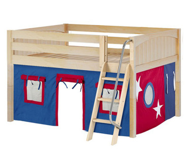 Maxtrix MANSION Low Loft Bed with Curtains Full Size Natural | Maxtrix Furniture | MX-MANSION21-NX