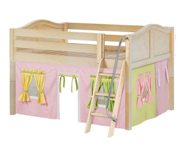 Maxtrix MANSION Low Loft Bed with Curtains Full Size Natural 4 | Maxtrix Furniture | MX-MANSION25-NX