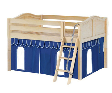 Maxtrix MANSION Low Loft Bed with Curtains Full Size Natural 5 | Maxtrix Furniture | MX-MANSION26-NX