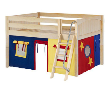 Maxtrix MANSION Low Loft Bed with Curtains Full Size Natural 8 | Maxtrix Furniture | MX-MANSION29-NX