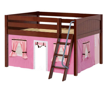 Maxtrix MANSION Low Loft Bed with Curtains Full Size Chestnut 11 | Maxtrix Furniture | MX-MANSION73-CX