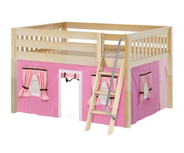 Maxtrix MANSION Low Loft Bed with Curtains Full Size Natural 11 | Maxtrix Furniture | MX-MANSION73-NX