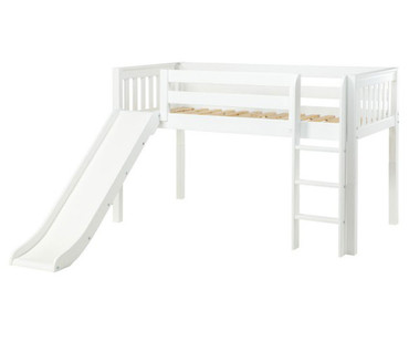 Maxtrix MARVELOUS Low Loft Bed with Slide Twin Size White | Maxtrix Furniture | MX-MARVELOUS-WX