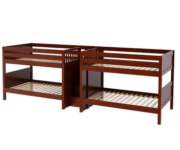Maxtrix MEGA Quadruple Low Bunk Bed with Stairs Full Size Chestnut | Maxtrix Furniture | MX-MEGA-CX