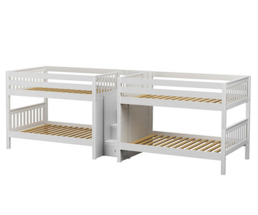 Maxtrix MEGA Quadruple Low Bunk Bed with Stairs Full Size White | Maxtrix Furniture | MX-MEGA-WX