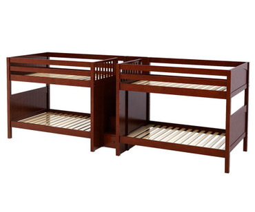 Maxtrix META Quadruple Medium Bunk Bed with Stairs Full Size Chestnut | Maxtrix Furniture | MX-META-CX