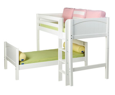 Maxtrix MISH L-Shaped Bunk Bed Twin Size White | Maxtrix Furniture | MX-MISH-WX