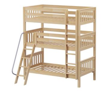 Maxtrix MOLY Triple Bunk Bed Twin Size Natural | Maxtrix Furniture | MX-MOLY-NX