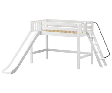 Maxtrix NINJA Mid Loft Bed with Slide Twin Size White | Maxtrix Furniture | MX-NINJA-WX