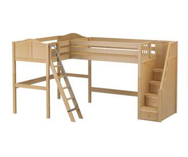 Maxtrix PENTHOUSE Corner High Loft Bed Twin Size Natural | Maxtrix Furniture | MX-PENTHOUSE-NX