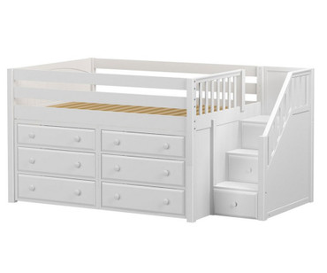 Maxtrix PERFECT Storage Low Loft Bed with Stairs Full Size White 1 | Maxtrix Furniture | MX-PERFECT3-WX
