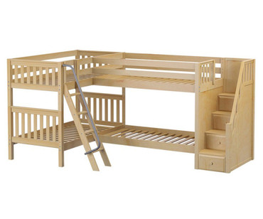 Maxtrix QUAD Corner Bunk Bed with Stairs Twin Size Natural | Maxtrix Furniture | MX-QUAD-NX