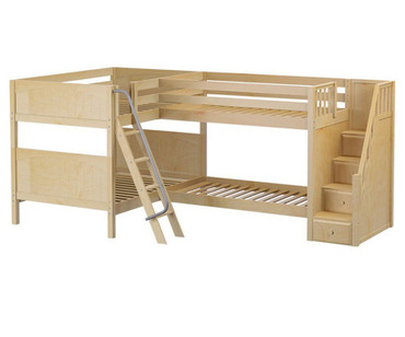 Maxtrix QUANTUM Corner Bunk Bed with Stairs Full Size Natural | Maxtrix Furniture | MX-QUANTUM-NX