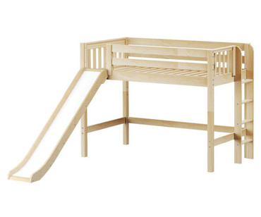 Maxtrix RANGER Mid Loft Bed with Slide Twin Size Natural | Maxtrix Furniture | MX-RANGER-NX