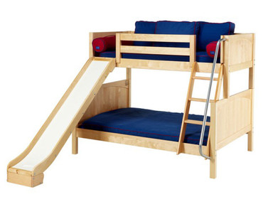 Maxtrix SLICK Bunk Bed w/ Slide Twin over Full Size Natural | Maxtrix Furniture | MX-SLICK-NX