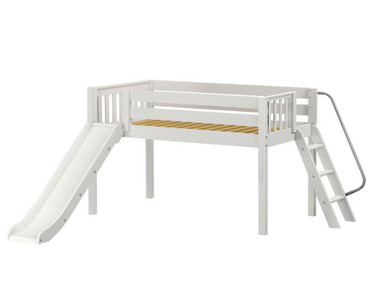 Maxtrix SMART Low Loft Bed with Slide Twin Size White | Maxtrix Furniture | MX-SMART-WX