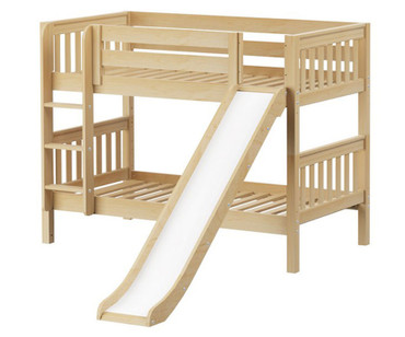 Maxtrix SMILE Low Bunk Bed w/ Slide Twin Size Natural | Maxtrix Furniture | MX-SMILE-NX