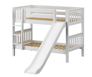 Maxtrix SMILE Low Bunk Bed w/ Slide Twin Size White | Maxtrix Furniture | MX-SMILE-WX