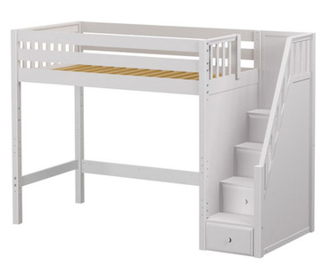 Maxtrix STAR High Loft Bed with Stairs Twin Size White | Maxtrix Furniture | MX-STAR-WX