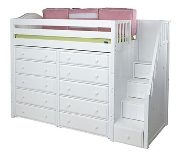 Maxtrix STAR Storage High Loft Bed with Stairs Twin Size White | Maxtrix Furniture | MX-STAR3-WX