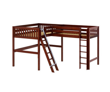 Maxtrix SUMMIT Corner High Loft Bed Full Size Chestnut | Maxtrix Furniture | MX-SUMMIT-CX