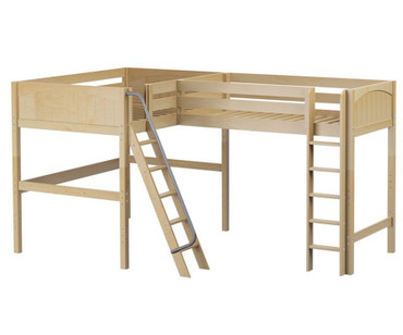 Maxtrix SUMMIT Corner High Loft Bed Full Size Natural | Maxtrix Furniture | MX-SUMMIT-NX