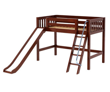 Maxtrix SWEET Mid Loft Bed with Slide Twin Size Chestnut | Maxtrix Furniture | MX-SWEET-CX