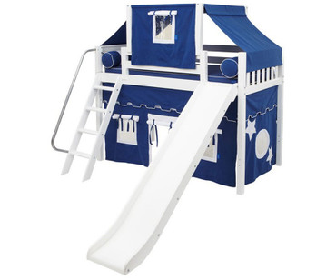 Maxtrix SWEET Mid Loft Bed with Tent & Slide Twin Size White | Maxtrix Furniture | MX-SWEET22-WX