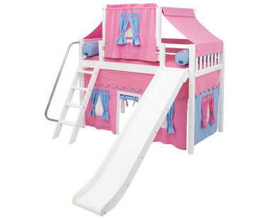 Maxtrix SWEET Mid Loft Bed with Tent & Slide Twin Size White 4 | Maxtrix Furniture | MX-SWEET28-WX