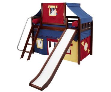 Maxtrix SWEET Mid Loft Bed with Tent & Slide Twin Size Chestnut 2 | Maxtrix Furniture | MX-SWEET29-CX