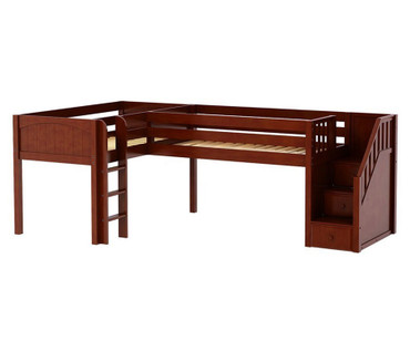 Maxtrix TANDEM Corner Low Loft Bed Twin Size Chestnut | Maxtrix Furniture | MX-TANDEM-CX