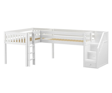 Maxtrix TANDEM Corner Low Loft Bed Twin Size White | Maxtrix Furniture | MX-TANDEM-WX