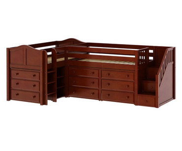 Maxtrix TANDEM Corner Low Loft Bed with Dressers Twin Size Chestnut | Maxtrix Furniture | MX-TANDEM1-CX